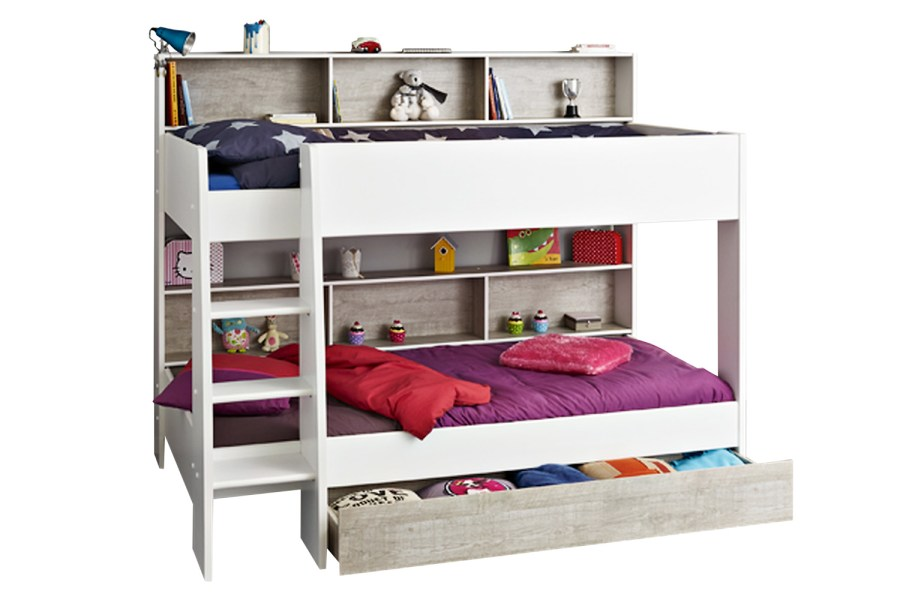 Charlie Storage Bunk   White   Stone   Ireland Charlie Storage Bunk with Free Storage Drawer   White   Stone