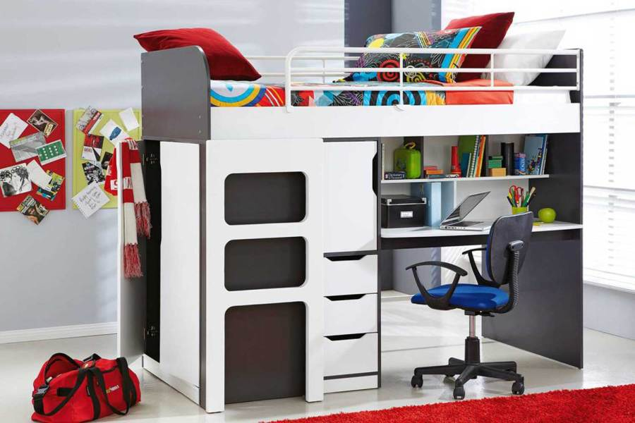 Oxford Single Bunk Bed Frame with Workstation by John Young     Oxford Single Bunk Bed Frame with Workstation by John Young Furniture   Harvey  Norman New Zealand