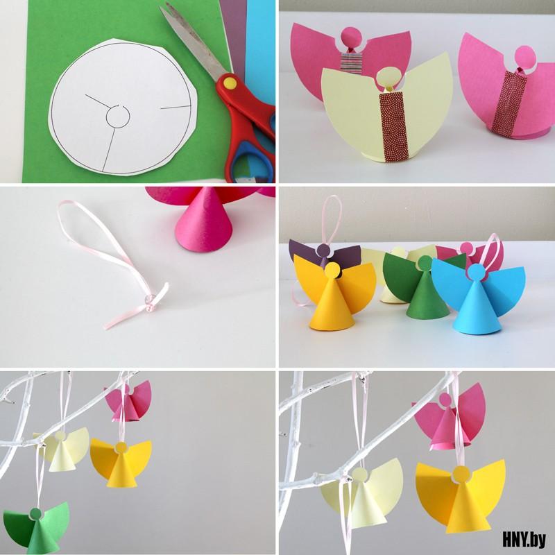 # 1 kertas malaikat di pokok Krismas: membuat hiasan dengan tangan anda sendiri