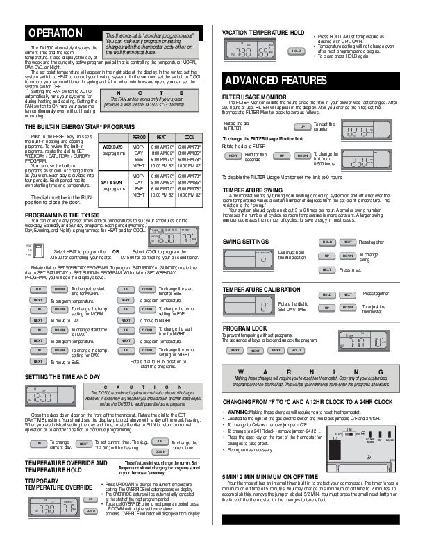 Lux Tx 1500 Thermostat Manual