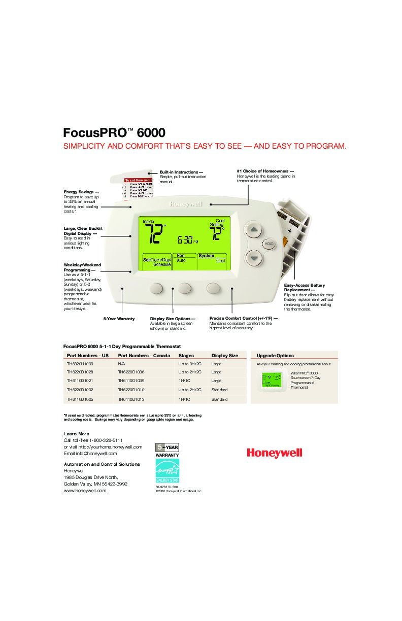 Honeywell Focuspro 6000 Thermostat Manual Focus Wiring Diagram