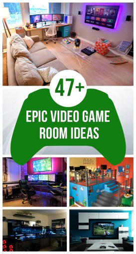47  Epic Video Game Room Decoration Ideas for 2018 Check out the best video game room ideas for 2018           gamer room designs