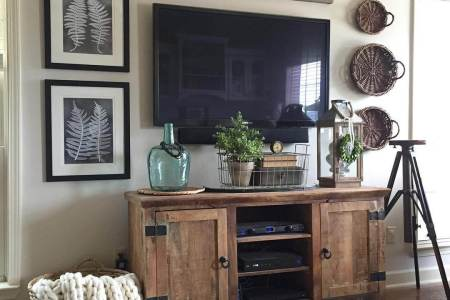 35 Best Farmhouse Living Room Decor Ideas and Designs for 2018 2  Rugged Barnwood Television Console Cabinet