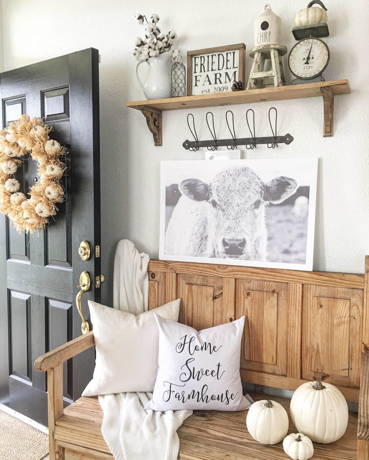 35  Best Rustic Home Decor Ideas and Designs for 2018 Oak Bench  White Pumpkins  and Cow Prints