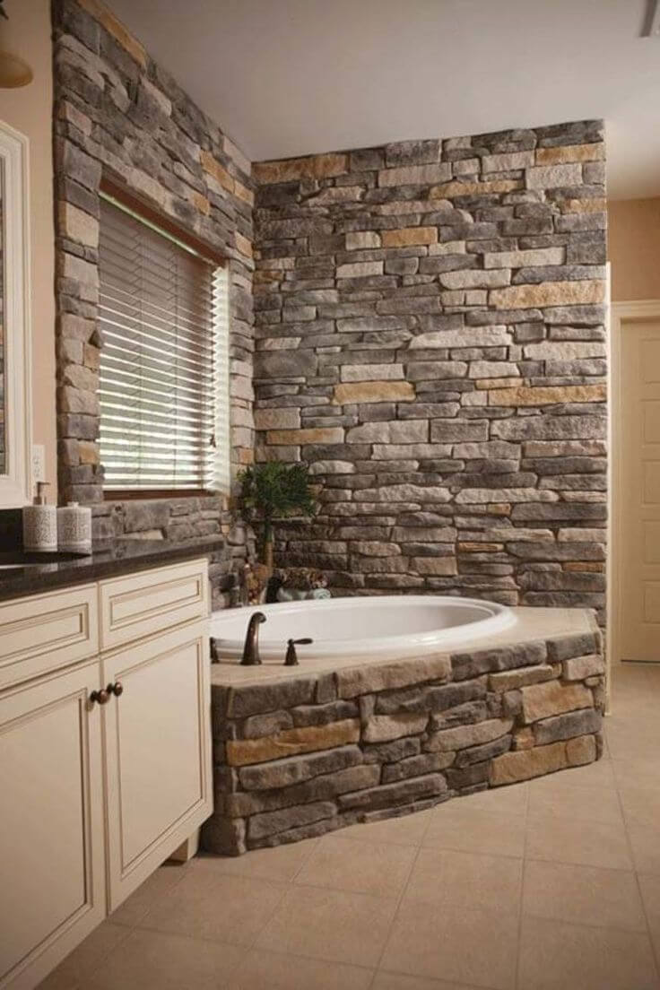 33 Best Interior Stone Wall Ideas and Designs for 2018 9  Old World Spa Style Bathtub Surround