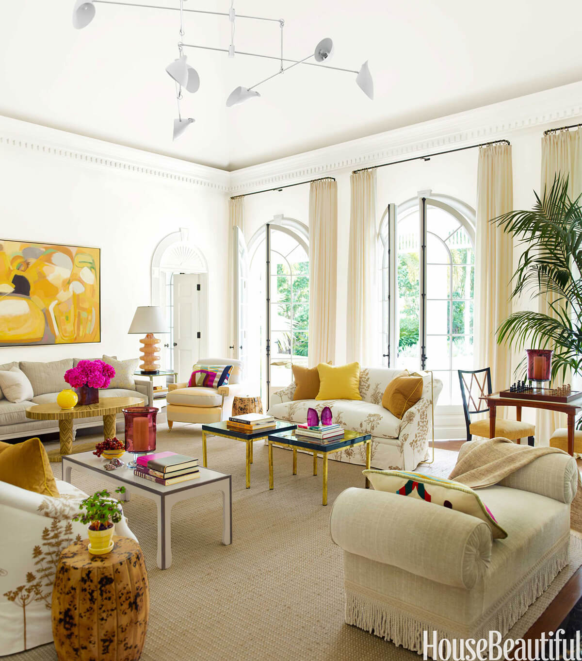 38 Best Tropical Style Decorating Ideas and Designs for 2018 35  Beige Living Room with Yellow and Magenta Accents