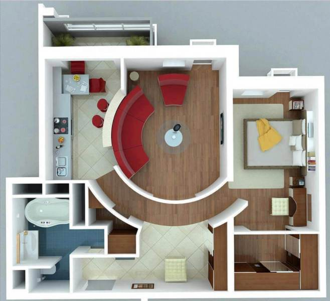 Small Apartments with Bedroom  Plans   Designs    Floor plan of a modern single bedroom apartment