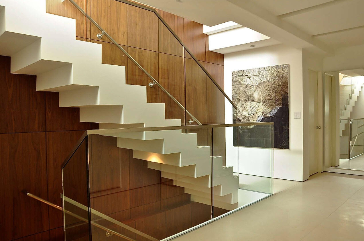 Staircase Design Shapes And Styles Photos   Concrete And Wood Stairs   Concrete Wall   Separated   Concrete Building Interior   Glass Balustrade   White Riser Wood