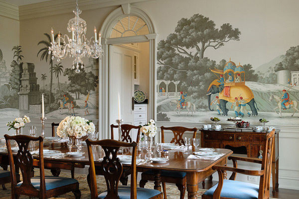 20 Conventional Dining Rooms with Wallpaper Murals   Home Design Lover Connecticut Estate
