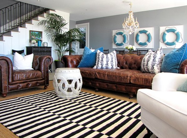 15 Interesting Combination of Brown and Blue Living Rooms   Home     black white rug