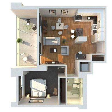 20 One Bedroom Apartment Plans for Singles and Couples   Home Design     large patio