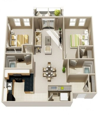 20 Interesting Two Bedroom Apartment Plans   Home Design Lover Bold stripes