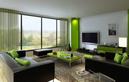 20 Gorgeous Black and Green Living Rooms   Home Design Lover living room design