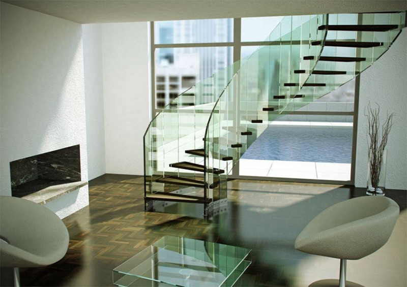 22 Sleek Glass Railings For The Stairs Home Design Lover | Staircase Railing With Glass | Low Cost | Cost | Residential | Pinterest | Spiral