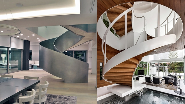 25 Modern Spiral Stairs That Will Bring A Stylish Flare To Your | Types Of Spiral Staircase | Staircase 2 | Detail | Living Room | German | Helical Staircase