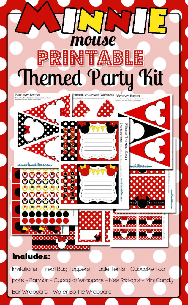 Minnie Mouse Party Printable Kit Red Free