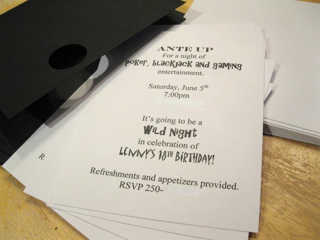 Poker Night Birthday Party – Invitation