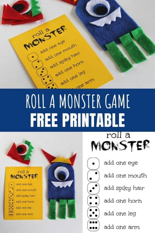 Roll a Monster Game with Free Printable