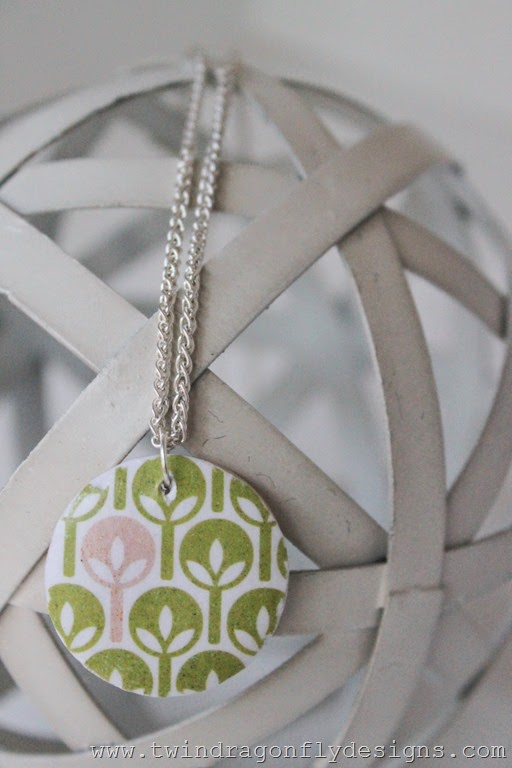 Decoupage Wooden Pendant with Free Printable