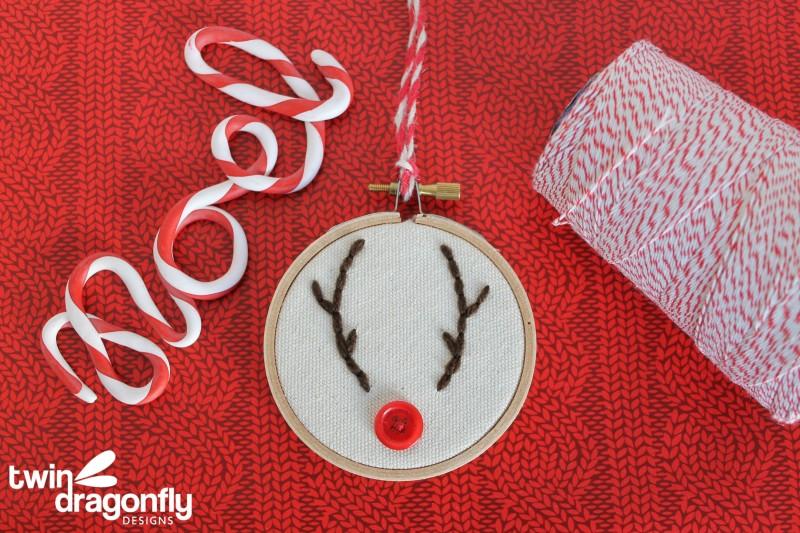 Reindeer Embroidery Hoop Ornament