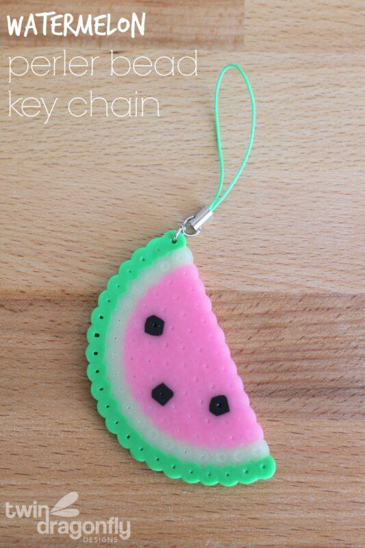 Watermelon Perler Bead Key Chain