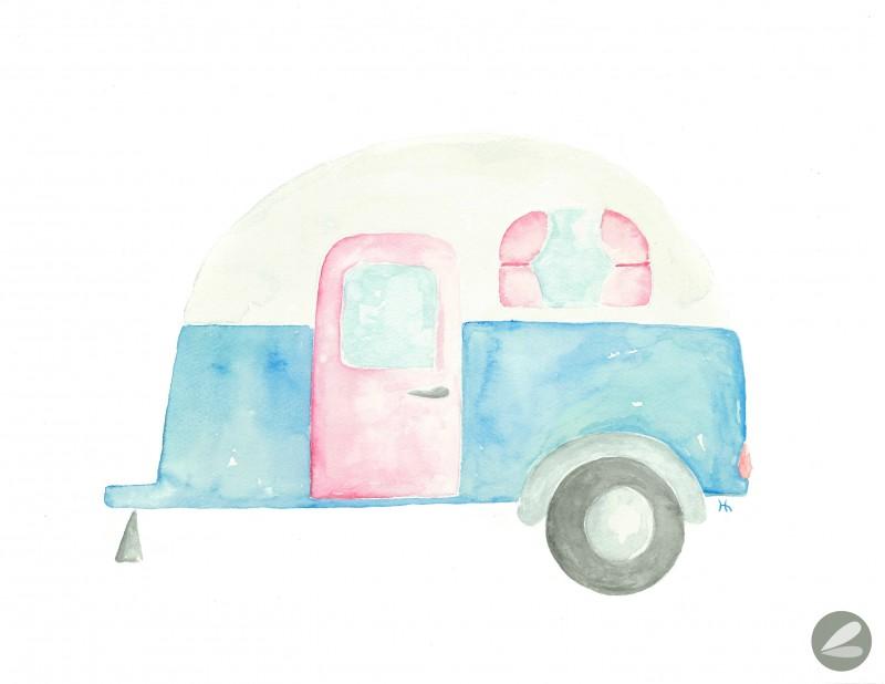 Watercolor Camper Printable