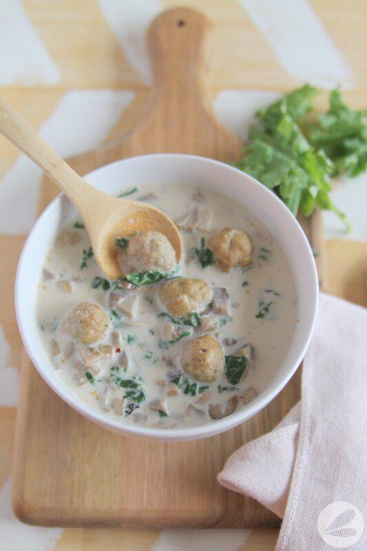 Creamy Kale, Mushroom & Turkey Meatball Soup