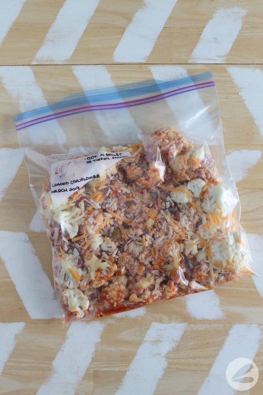 loaded campfire cauliflower freezer meal