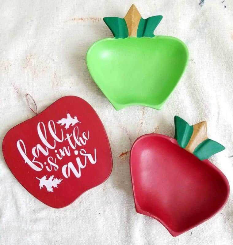 fall apples to welcome autumn on monkey pod wood that has been painted into the apple decor x