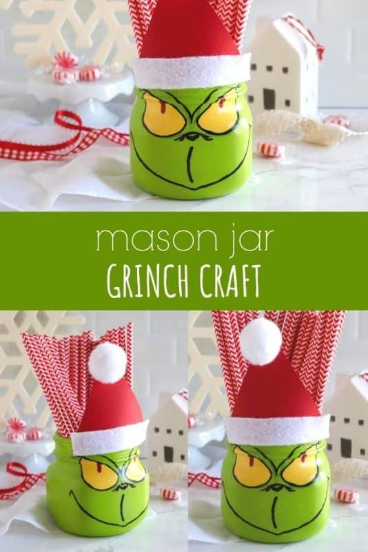 mason jar grinch craft