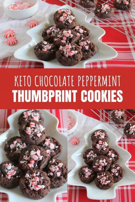 keto chocolate perppermint thumbprint cookies