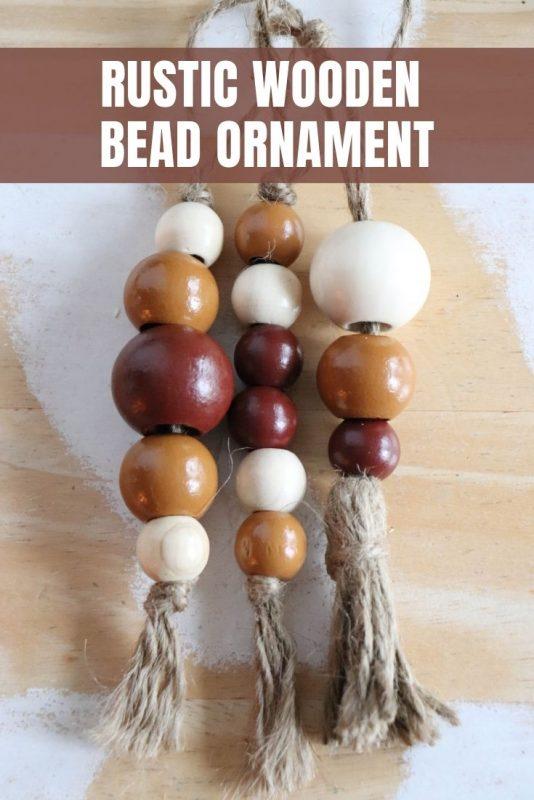 rustic wooden bead ornament