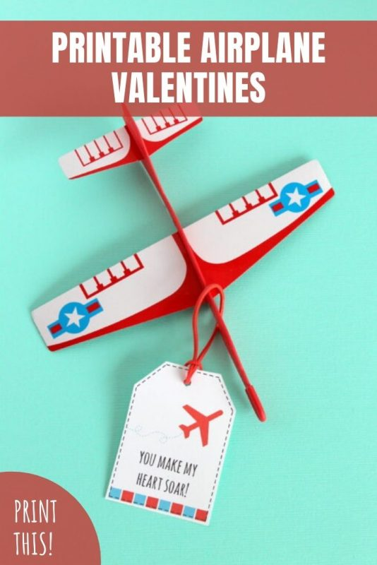 printable airplane valentines