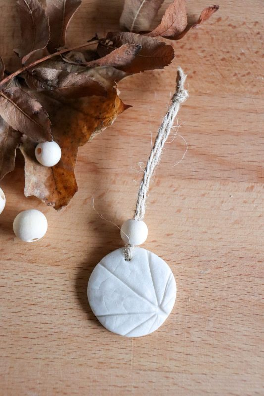 clay leaf imprint ornament
