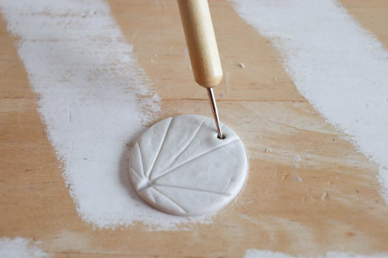 diy leaf impression ornaments