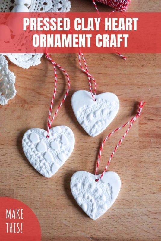 pressed clay heart ornament craft