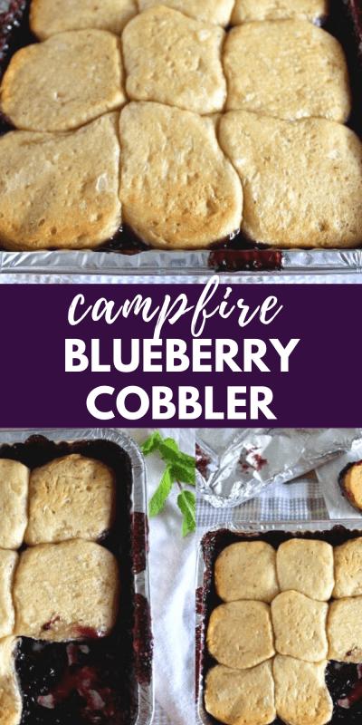 campfire blueberry cobbler