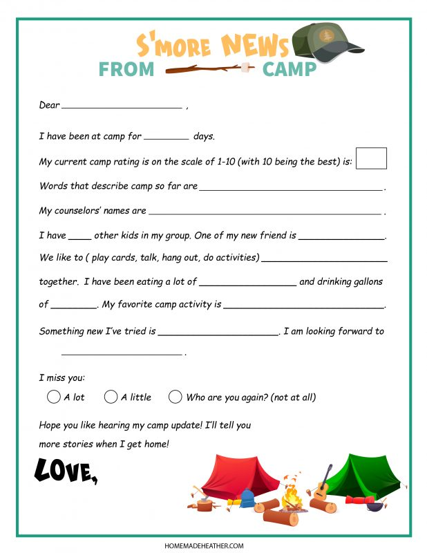 camping letter
