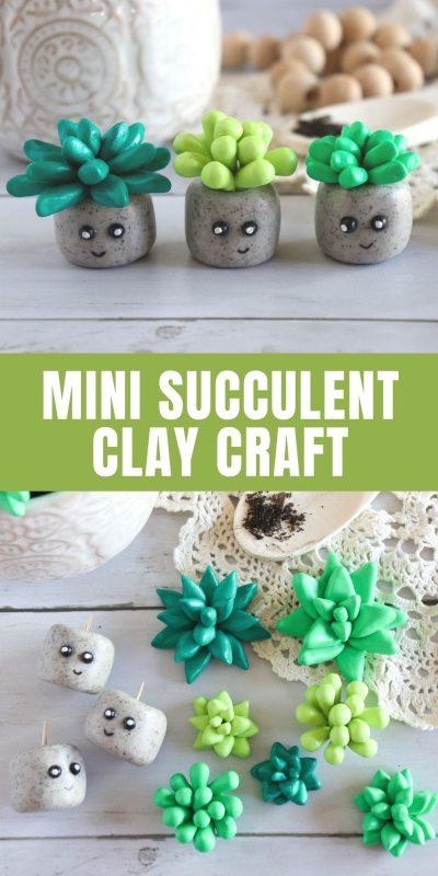 diy mini polymer clay succulent