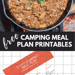 free camping meal plan printables