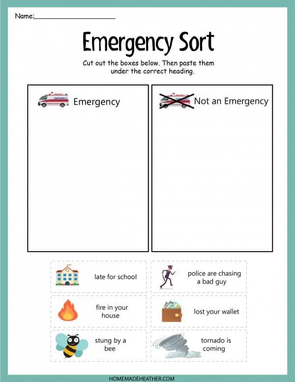 Emergency Sort Printable Work Sheet
