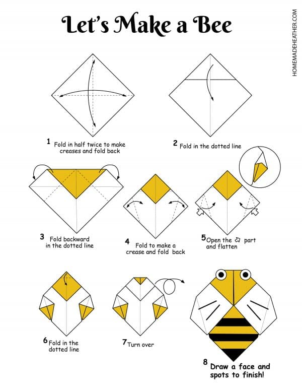 Free Origami Bee Printable Design