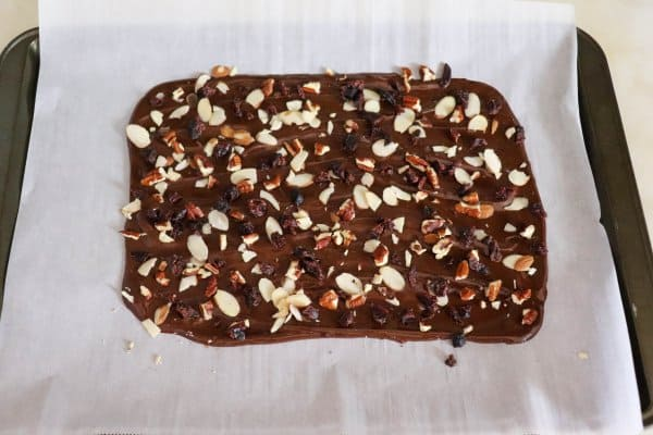 Dark Chocolate Bark Process