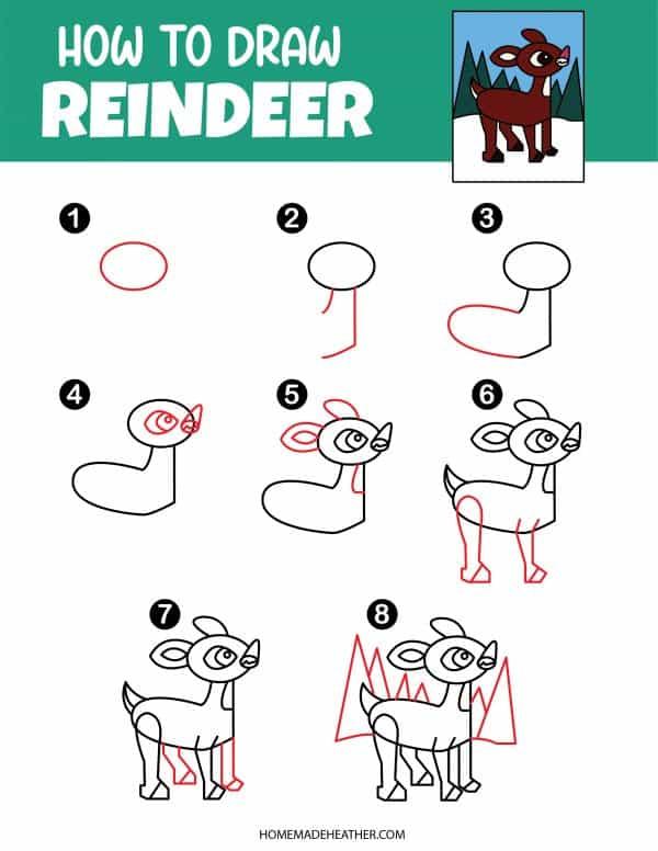 Free How To Draw Reindeer Printable