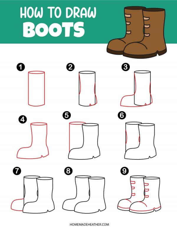 Free How To Draw Boots Printable