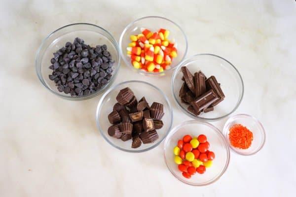 Leftover Candy Halloween Bark Ingredients