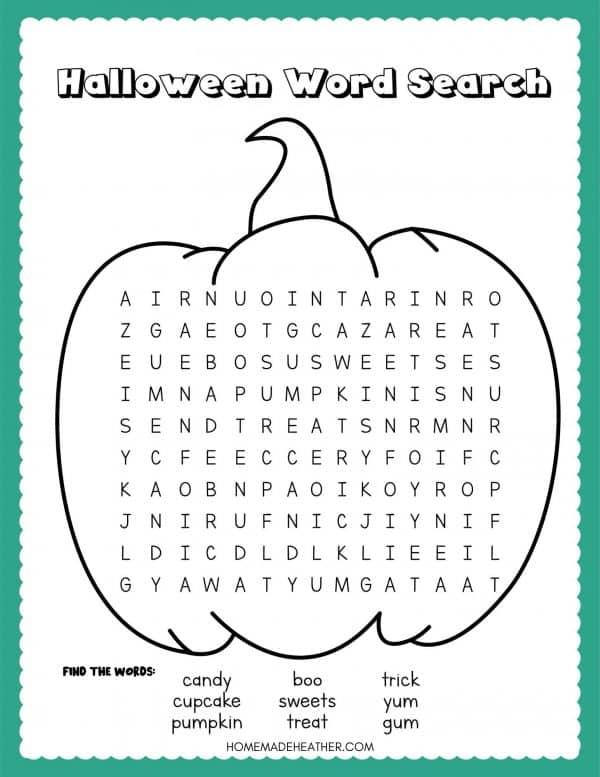 Pumpkin Word Search Printable