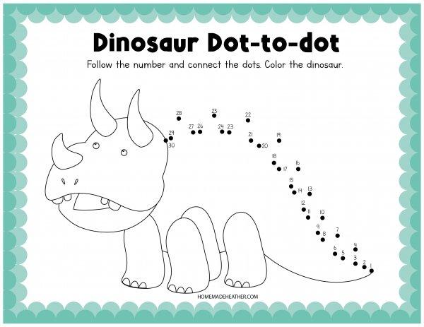 Printable Dinosaur Dot to Dot