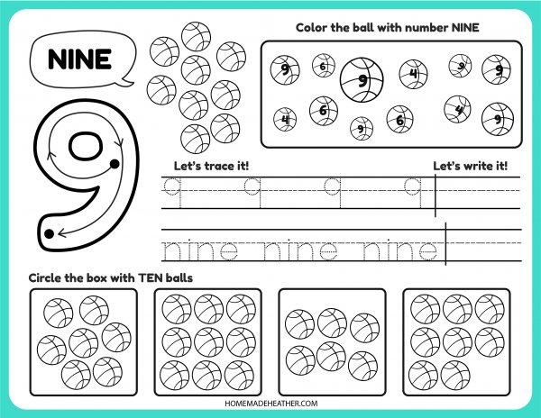 Free Number Tracing Printable nine