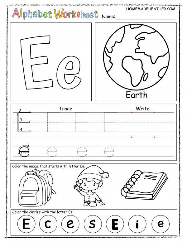 Letter E Printable Worksheet